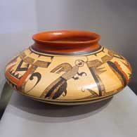 Dawn Navasie made this polychrome Sikyatki-style jar with fire clouds and 3-panel bird element and geometric design