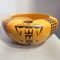 Polychrome bowl with four direction katsina, bird element and geometric design, by Garrett Maho