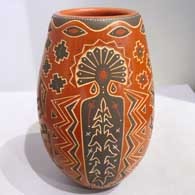 Sgraffito and painted Corn Mother, corn plant and geometric design on a polychrome jar