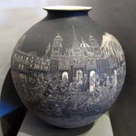 Day of the Dead and Mexico City views design incised into a large black olla