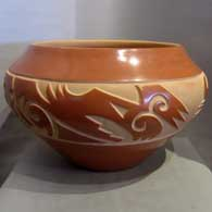 Red carved jar