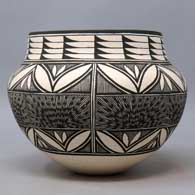 Black and white jar with geometric design