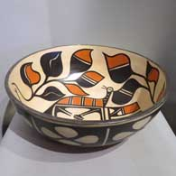 Polychrome bowl with bird, plant and geometric design, created by Paulita and Gilbert Pacheco