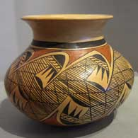 Black and red migration pattern design on a yellow, Sikyatki-style jar, by Priscilla Namingha Nampeyo