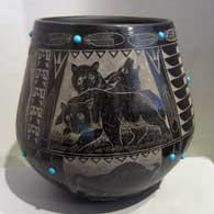 Black jar with sgraffito design and inlaid turquoise