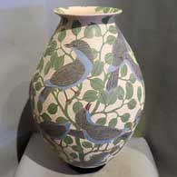 Pot with bird, branch and geometric design by Ricardo Delgado Cruz