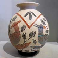 Pot with bird, branch and geometric design by Sandra Lorena Arras