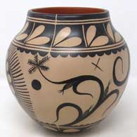 Polychrome jar with corn plant and geometric design