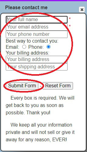 Image of the information form with the necessary text boxes and the Submit button circled in red