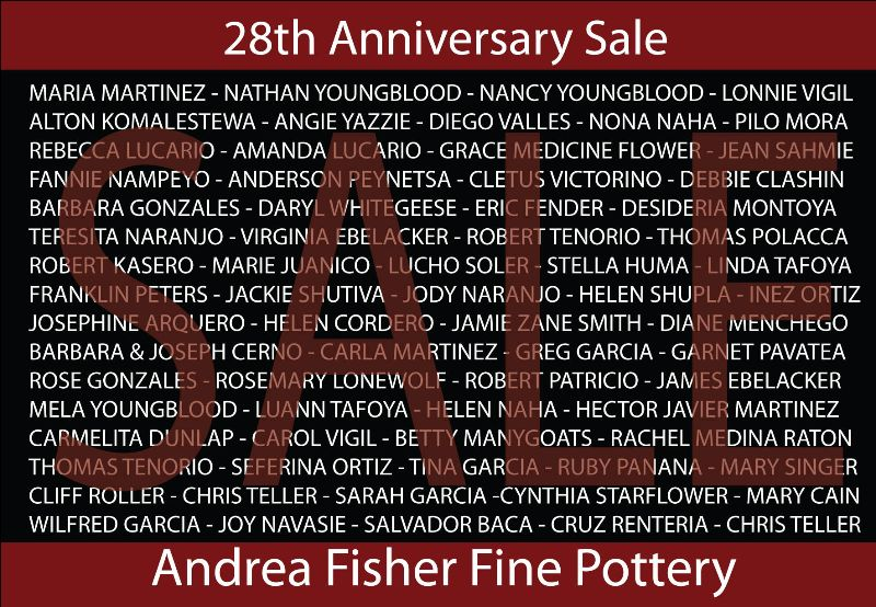 Image of the postcard that was mailed out to announce our upcoming 28th Aniversary Sale!