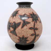 Polychrome jar with sgraffito and painted hummingbird, branch, flower and geometric design , click or tap to see a larger version