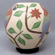 Polychrome jar with sgraffito and painted bird, branch and geometric design , click or tap to see a larger version