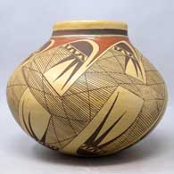 Polychrome jar with migration pattern design , click or tap to see a larger version