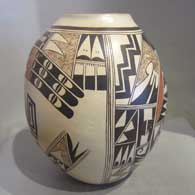 Polychrome jar with bird element and geometric design plus fire clouds , click or tap to see a larger version