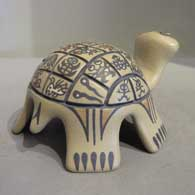 Polychrome turtle with animal and geometric design, click or tap to see a larger version