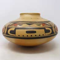Polychrome jar with 4-panel geometric design plus fire clouds, click or tap to see a larger version