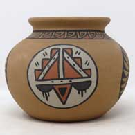 Polychrome Pojoaque-style jar with medallion and geometric design , click or tap to see a larger version