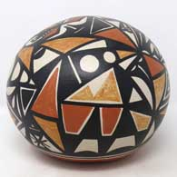 Polychrome seed pot with geometric design , click or tap to see a larger version