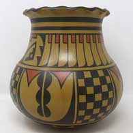 Polychrome jar with checkerboard and geometric design , click or tap to see a larger version