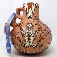 Polychrome jar with kiva step handle and Horned Toad of the Antway Chant design 1993 New Mexico State Fair 1st Premium Ribbon , click or tap to see a larger version