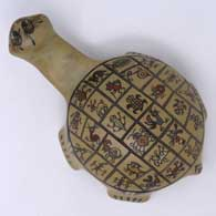 Polychrome turtle figure with insect, reptile and animal designs , click or tap to see a larger version