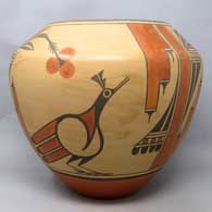Polychrome jar with 3-panel roadrunner, yucca flower, cloud and geometric design , click or tap to see a larger version
