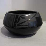 Black on black jar with four-panel geometric design  , click or tap to see a larger version