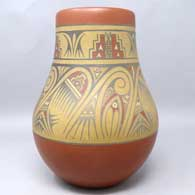 Polychrome jar painted with geometric design, click or tap to see a larger version