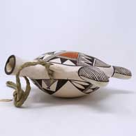 Polychrome turtle canteen with fine line and geometric design , click or tap to see a larger version