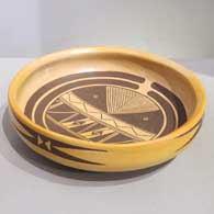 Black on yellow bowl with geometric design inside and out , click or tap to see a larger version