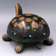Black turtle with sienna spots, sgraffito avanyu design and inlaid stones  , click or tap to see a larger version