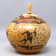 Polychrome lidded seed pot with a turtle, corn plant and geometric design, Honorable Mention ribbon from the Museum of Northern Arizona, click or tap to see a larger version