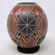 Polychrome jar with sgraffito and painted turtle, medallion and geometric design , click or tap to see a larger version
