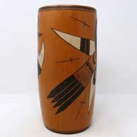 Polychrome cylinder with bird element and geometric design , click or tap to see a larger version