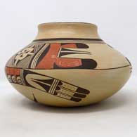 Polychrome jar with bird element and geometric design , click or tap to see a larger version