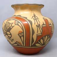 Polychrome jar with roadrunner, rainbow, corn plant and geometric design plus a pie crust rim , click or tap to see a larger version