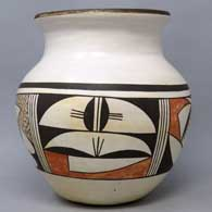Polychrome jar with 4-panel bird element and geometric design , click or tap to see a larger version