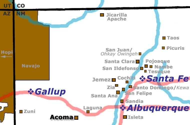 Map showing location of Acoma Pueblo