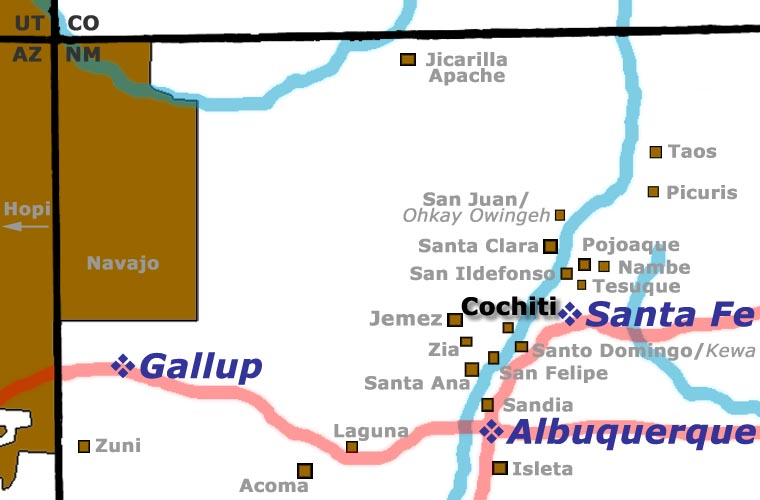Map showing location of Cochiti Pueblo