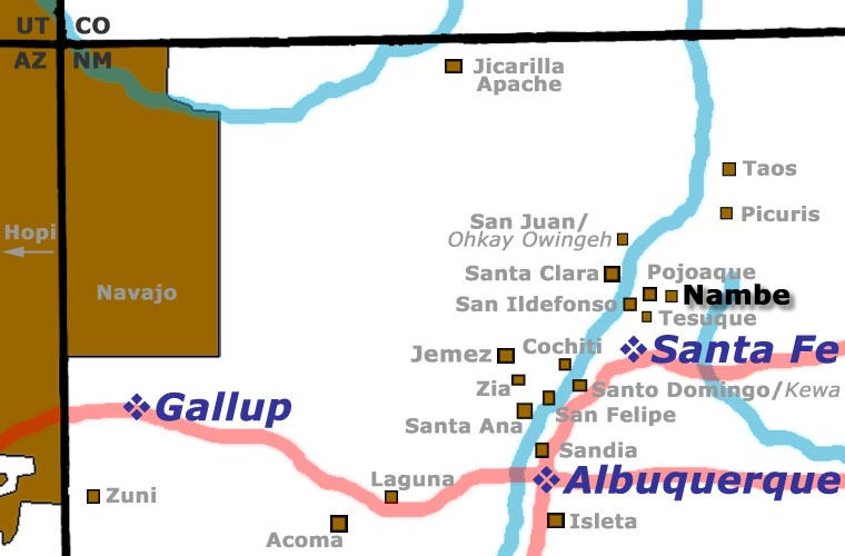 Map showing the location of Nambe Pueblo