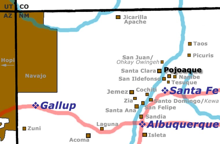 Location map for Pojoaque Pueblo