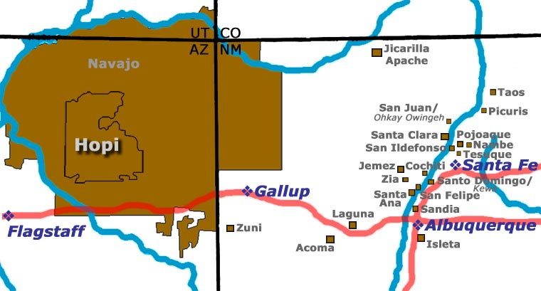 Map showing the location of the Hopi mesas