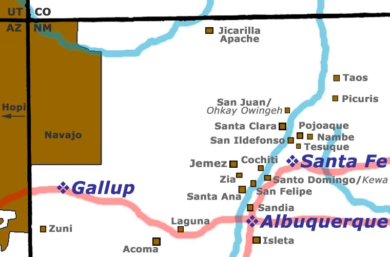 Locations of the Pueblos