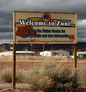 A view of the Zuni Pueblo Welcome sign