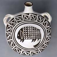 Black and white canteen with Mimbres animal and geometric design